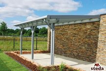 Terrassenüberdachungen / Terrassenüberdachungen aus Leimholz und Aluminium mit Sicherheitsglas oder Doppelstegplatten