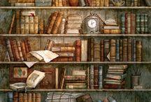 Полка с книгами. Декупаж