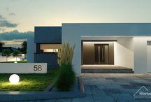 HomeKONCEPT 58 I Projekt domu / HomeKONCEPT 58 to atrakcyjny dom parterowy, należący do cieszącej się coraz większym powodzeniem inwestorów, kolekcji domów z płaskim dachem. Stanowi interesujące połączenie bryły zewnętrznej z bardzo wygodnymi i funkcjonalnymi wnętrzami. Elewacja domu pokryta białym i szarym tynkiem silikonowym, została ozdobiona efektownym belkowaniem, okalającym cały budynek.
