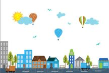 City Scape Building Wall Decals