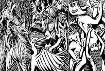 My work / Voici mes créations, sérigraphies textile et papier, gravures, illustrations