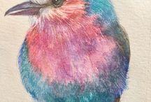 Птицы в акварели и живописи
