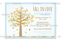 Fall in Love Autumn Tree Blue Baby Shower