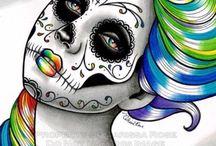 Handmade Happy Hour-October / Inspiration board for sugar skull portraits!