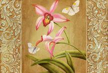 lepke virággal színes / butterfly flower Vintage transfer transzfer colorful