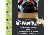 Dogs Birthday Party Cards / If you are having a party for a breed that isn't featured here, feel free to contact this designer!