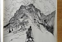 illustratoin inspiration, sketches in sketchbook