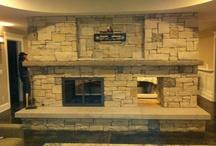 Limstone fireplace