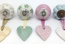 Handmade Ceramic Heart Hangers / Beautiful handmade, hand impressed heart shaped hangers to hang from door knobs and hooks