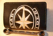 Handmade leather Biker wallet-black,Star Rider,classic desidn,medium Vertical bifold wallet