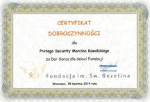 Foundation for the Holy Gezelin Charity Certificate. / We are pleased to announce that the company #Protego #Security was honored by the #Foundation for the Holy Gezelina Charity Certificate (for more details: http://www.gezelin.pl/ ). #agencja #ochrony #warszawa #ochrona #firma #ochroniarska #ochrona #mienia #security #warsaw #poland