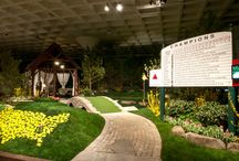 Garden Showcase Event / This was a showcase garden for Cleveland's 2013 Great Big Home and Garden Show. The garden was a homage to the fabled Amen Corner at Augusta National Golf Course complete with Leader Board and Ben Hogan footbridge as well as the famed map of the United States constructed solely from flowers with a pink tulip marking Augusta. Thom Sivo Photography