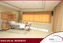 University Hospital Sharjah's Premium High-End Suites / University Hospital Sharjah's Premium High-End Suites, offer the most comfortable post surgical care possible - The 4 brand-new state-of-the-art private suites located within an exclusive floor of the hospital offers not only individual patient's room but an additional array of deluxe contemporary amenities like 8-person dining room, a reception area equipped with elegant furniture, sophisticated wall coverings, a separate living area, a kitchenette, fine linens and a special guests' toilet.