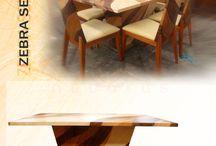Zebra Series of Decorus Furniture / Zebra Series of Decorus Furniture. Dining Table, Console Table, Side Chair, Sideboard and Display Cabinet.