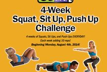 GoFit 4-Week Squat, Sit Up, Push Up Challenge / Perform each exercise everyday and each week add 10 reps!