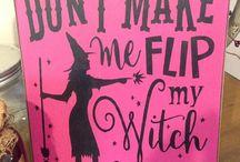 School decorations witch spells Halloween