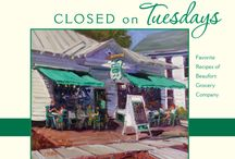 Closed on Tuesdays / Beaufort Grocery Co. has published their first cook book Closed On Tuesdays.  This book is 128 pages of delicious family & restaurant recipes, 30 amazing photos & a beautifully painted cover by John Silver.  The title of this book was inspired by the day that Beaufort Grocery Co. has always been closed, Tuesday.