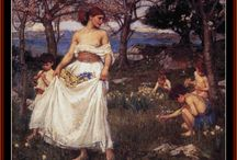 Waterhouse, J.W. Cross Stitch / Fine art counted cross stitch patterns adapted from the gorgeous Pre-Raphaelite paintings of English painter John W. Waterhouse. His paintings were known for their depictions of women from both ancient Greek mythology and Arthurian legend.  Designed by Kathleen George, Cross Stitch Collectibles