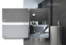 Płyty dekoracyjne z betonu architektonicznego / Tablica z płytami z betonu dekoracyjnego