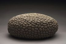 sleeping mice / Oval pouf made of 1500 small crocheted linen mice.