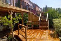 Cedar Deck with Pergola and Interlocking Basement Walkout
