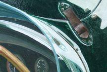 CAR À BOSS / VOITURE/Aston Martin/ Huile et pâte acrylique en relief sur toile  40x40