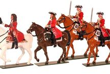 The Marlborough era The Duke of Marlborough and An Officer and two Troopers / All hand painted 54mm Toy Soldier sets packed in Red Boxes, Cast in quality white metal, hand painted gloss enamels. Available as unpainted casting, kit with colour photo. / by Tradition of London