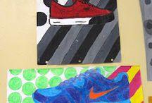 Shoes on pop art / Kenkä kankaassa ja paperilla
