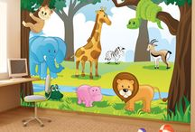 Animal Wall Mural / Jungle Wall Mural, Forest Wall Mural, Animal Wall Mural