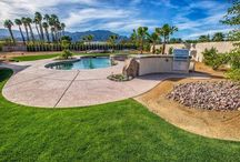Griffin Ranch in South La Quinta, CA / Teserra swimming pools and outdoor spaces in the Griffin Ranch Country Club. #coachellavalley