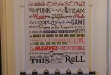 """Geeky tendencies / Banners, Home decor, things with a geeky twist.  """"We do Geek"""" style banners featuring """"This is how we Roll with a D20"""""""