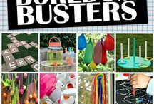 """Boredom busters for keeping kids busy during school breaks! / Beat  that """"cabin fever"""" over school breaks!  Some fun  featured ideas you will find are: """"I'm bored jars,""""  fun forts, making a journal about your school break. Boredom busters for tweens and teens too!  Dare we say even """"old fashioned"""" no electronics games! Hopscotch anyone?"""
