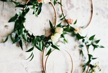 Boho Chic  Style Shoot / Slate Blue and Mustard yellow, macrame/floral ceremony design, muted hues, texture