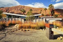 "William Krisel / ""Tract housing often implies cookie-cutter. But in Palm Springs, Krisel varied homes' rooflines, paint schemes, and setbacks from the street so no two tract homes next to each other looked the same — despite all having one basic floorplan. He also popularized the ""butterfly"" roof."" - NPR News"