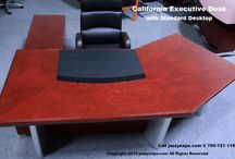 Executive Desk Furniture - California Model / The California Professional Desk is for the executive that likes the beauty of the straight lines along the desk top and side Return. Made with exotic African wood with the front legs painted in a silver color.