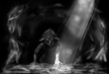 Black and White Airbush drawing / Mostly fantasy or self thoughts