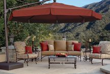 {Patio Furniture} We got you covered! / Umbrella's, lamps, outdoor accessories for patio entertainment and relaxing.