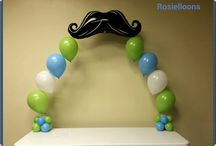 Mustach baby shower balloons