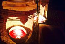 Recycled mason jars / Candle holders