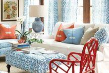 blue, beach inspired living room