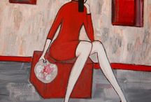 Ola Lubczynska Red Paintings / Acrylic paintings on canvas, women, girls, red, art, ola, lubczynska