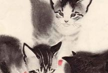 """Cats in Art at The Great Cat / """"Perhaps it is because cats do not live by human patterns, do not fit themselves into prescribed behavior, that they are so united to creative people."""" Andre Norton  (www.thegreatcat.org) (https://www.facebook.com/catsinart)"""