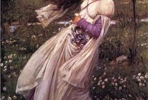My Waterhouse medieval gown inspiration / I'm designing a dress at the moment which will be loosely based on the work of John William Waterhouse, and the divine dresses that his female subjects wear. My dress will be made in white muslin fabric to give it a more old and authentic look.