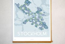 madmap / Featuring some of our beautiful vintage canvas madmaps of cities and regions in Sweden!