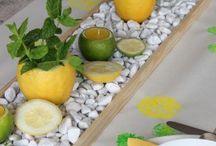 Tischdeko mit echten Früchten und Kräutern