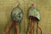 karFitsa earings made of silkworm cocoons / handmade jewelry made of silkworm cocoons