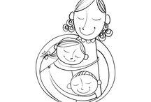 Dibujos del Día de la Madre / En estos dibujos del Día del la Madre encontrarás imágenes para colorear de madres y sus hijos muy felices. Colorea un dibujo perfecto para conmemorar el día de la Madre. ¡Será un regalo perfecto!