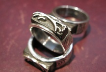 Uffington White Horse Men's Rings / Uffington White Horse limited series of 20 silver 925 rings is totally handmade by Mirko C. ring made on 925 silver  worked to make it a geological look. With fossil oak dated 3410 years old, which I was inspired by mystical and prehistoric figure of White Horse of Uffington. Mirko Clementi Design on ETSY