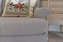 Ticking stripe decor and fabric