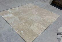 Travertine Tiles / Travertine tile, mosaics and pavers showroom  http://www.pisosdemarmol.com.mx